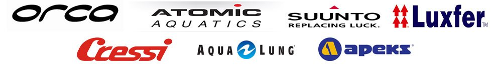 brand logos - Orca, Atomic, Suunto, Luxfer, Cressi, Aqua Lung, Apeks, The Dive Shack, Snorkel Safari, Adelaide, scuba, diving, snorkelling, spearfishing, freediving