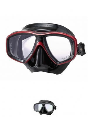 The Dive Shack - TUSA, Freedom, Ceos Pro, Dive, diving, mask, black, red, silicone, dual lens