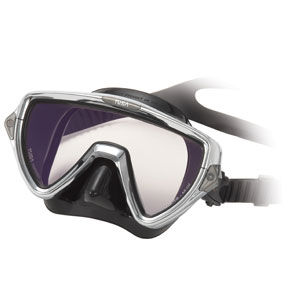 The Dive Shack - TUSA, Visio, Pro, diving, dive, mask, black silicone, single lens, silver